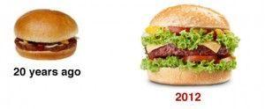 Comparando tamaños cheeseburger durante los últimos 20 años