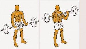 Curl con barra, agarre ancho bíceps