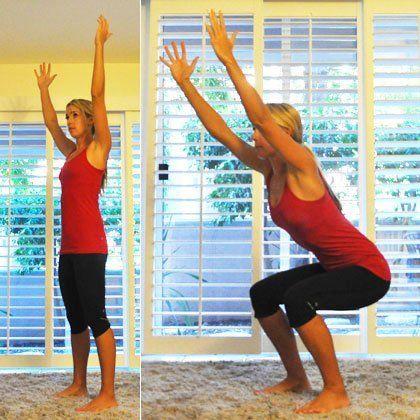 Entrenamiento cardiovascular ejercicio sentadillas con brazos en alto