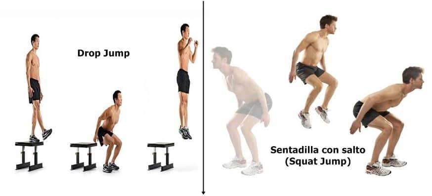 Drop jump y sentadilla con salto