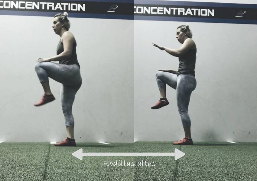 ejercicio rodillas altas para tabata
