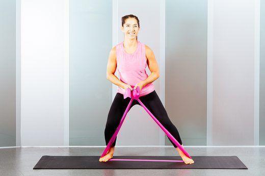 Paso lateral ejercicio con banda de resistencia