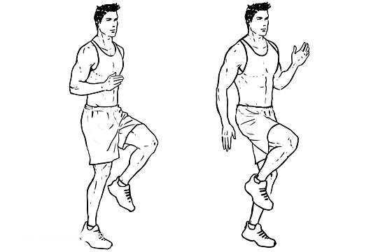 Ejercicio rodillas altas