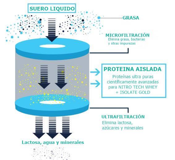 Microfiltración de la proteína Nitro Tech Whey Plus