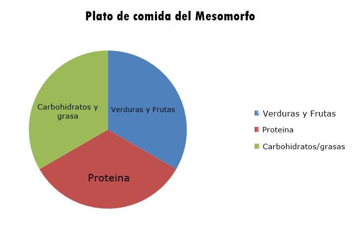 Plato porciones de comida del mesomorfo