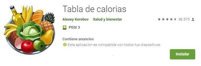 tabla de calorías de los alimentos