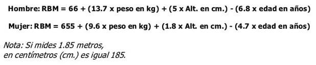 formula calorias