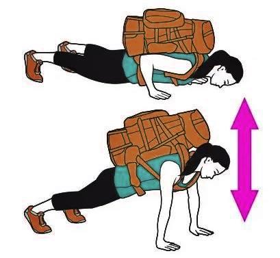 Flexión con mochila