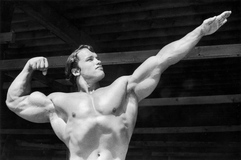 Arnold Schwarzenegger posando de joven